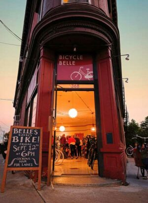 Bicycle Belle shop in Boston at twilight
