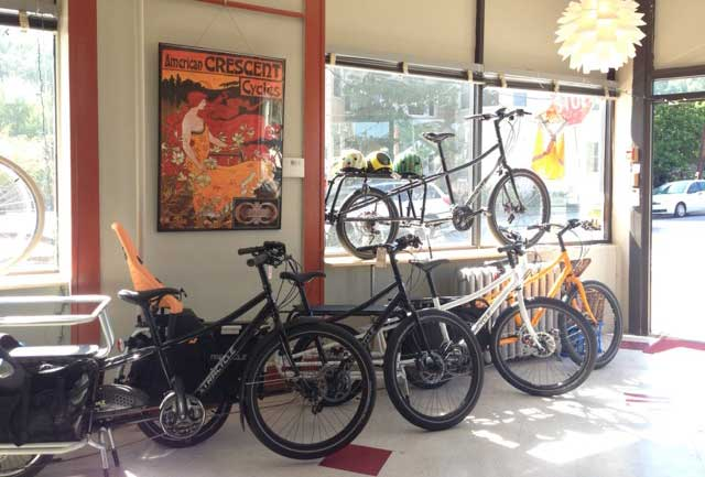 Xtracycles lined up at Bicycle Belle bike shop in Boston